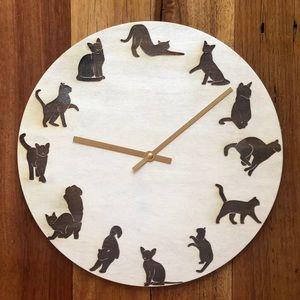 Cat Engraved Clock